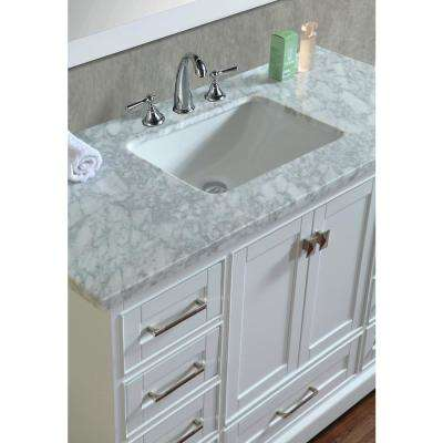 Newport 48 in. W x 22 in. D Vanity in White with Marble Vanity Top in Carrara White and Mirror