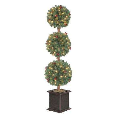 4 ft. Hudson Artificial Christmas Tree Topiary with 150 Clear Lights