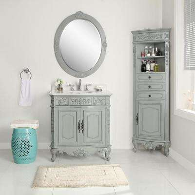 Winslow 33 in. W x 22 in. D Vanity in Antique Gray with Marble Vanity Top in White with White Sink