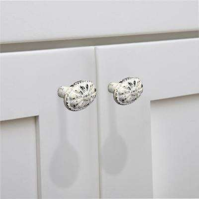 Floral Bead 2 in. (50 mm) Distressed White Patina Cabinet Knob