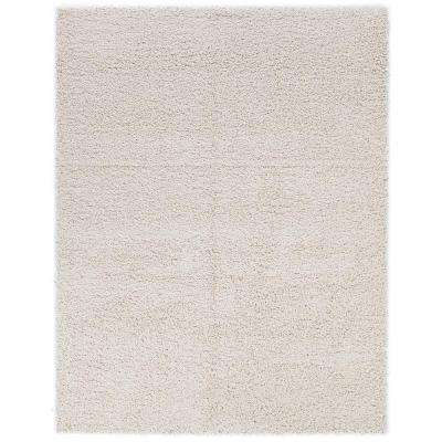 Cozy Shag Collection Cream 6 ft. 7 in. x 9 ft. 3 in. Indoor Area Rug