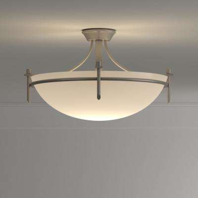 Stewart 3-Light Brushed Nickel Incandescent Ceiling Semi-Flush Mount Light