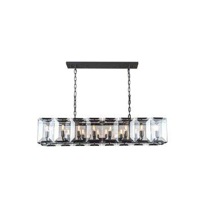 Monaco 16-Light Flat Black Matte Glass Crystal Clear Pendant
