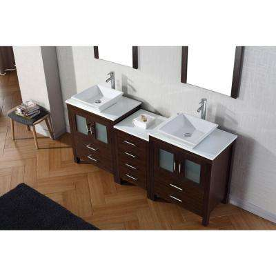Dior 75 in. W Bath Vanity in Espresso with Stone Vanity Top in White with Square Basin and Mirror and Faucet