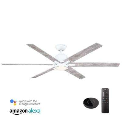 Kensgrove 64 in. LED White Ceiling Fan works with Google Assistant and Alexa