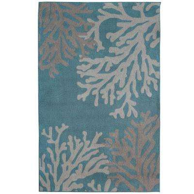 Coral Teal Polyester 9 ft. x 12 ft. Area Rug