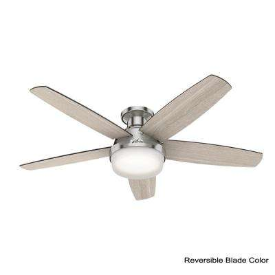 Salido 52 in. LED Indoor Brushed Nickel Ceiling Fan with Light Kit and Handheld Remote