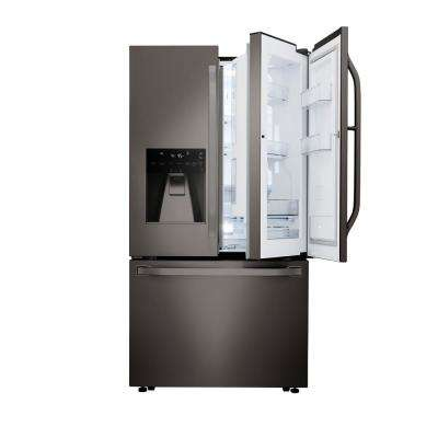 23.5 cu. ft. French Door Smart Refrigerator with Door-in-Door and Wi-Fi Enabled in Black Stainless Steel, Counter Depth