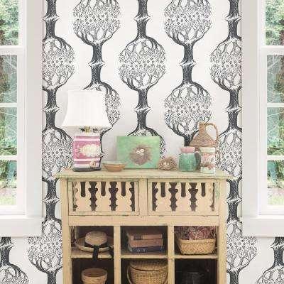 Celesta Grey Tree Wallpaper
