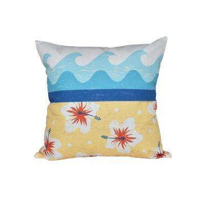 16 in. x 16 in. Yellow Surf Sand and Sea Floral Print Pillow