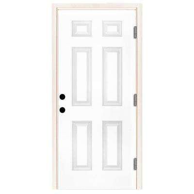 30 in. x 80 in. Premium 6-Panel Primed White Steel Prehung Front Door with 30 in. Left-Hand Outswing and 6 in. Wall