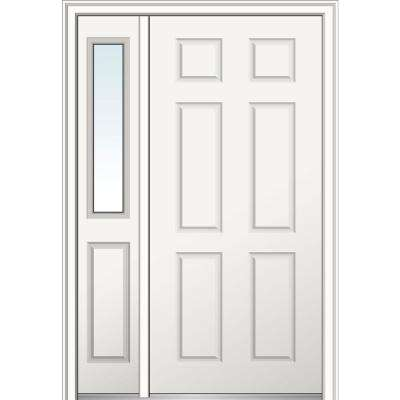 50 in. x 80 in. 6-panel Right Hand Classic Primed Fiberglass Smooth Prehung Front Door with One Sidelite