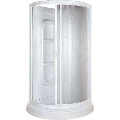 38 in. x 38 in. x 78 in. Shower Kit in White