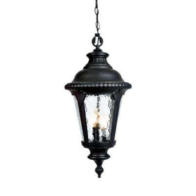 Surrey Collection Hanging Outdoor 3-Light Matte Black Light Fixture