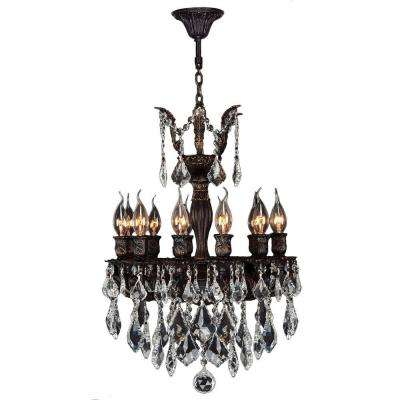 Versailles Collection 12-Light Flemish Brass Chandelier with Clear Crystal