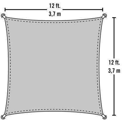 12 ft. W x 12 ft. L Triangle Sun Shade Sail in Sand (Poles Not Included) with Breathable, UV-Stabilized Fabric
