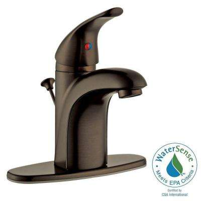 Lola Single Hole 1-Handle Bathroom Faucet in Brushed Bronze