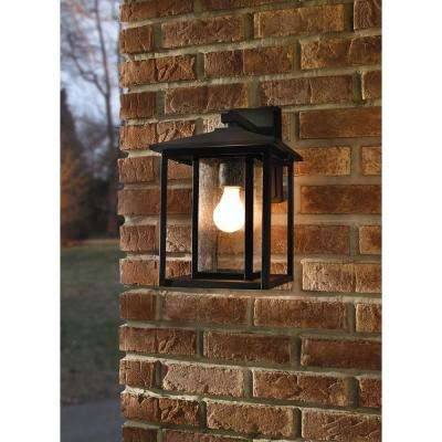 Hunnington 14 in. H 1-Light Outdoor Black Wall Lantern Sconce with Clear Seeded Glass Panels