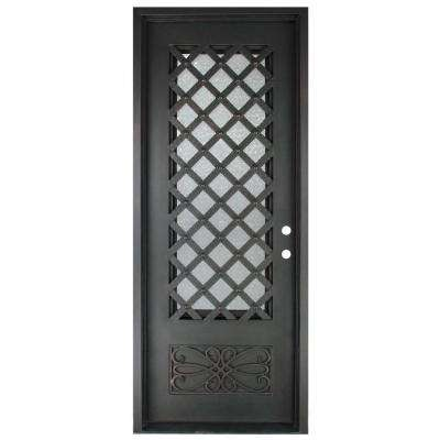 37.5 in. x 81.5 in. Luce Lattice Classic 3/4 Lite Painted Oil Rubbed Bronze Hammered Wrought Iron Prehung Front Door