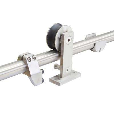 Top Mount 96 in. Stainless Steel Barn Style Sliding Door Track and Hardware Set