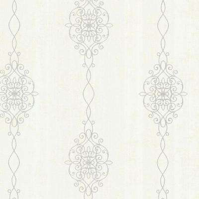 Alvina Platinum Ironwork Stripe Geometric Wallpaper
