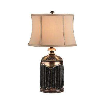 28 in. Antique Brass Beaded Stone Lamp