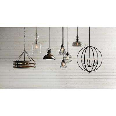 8.38 in. 1-Light Brushed Nickel Pendant with Clear Glass Shade