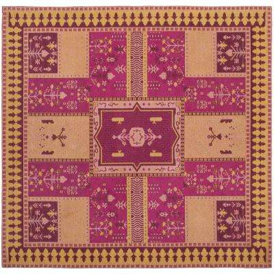 Classic Vintage Fuchsia/Gold 6 ft. x 6 ft. Square Area Rug