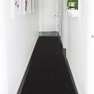 Ottohome Collection Carpet Solid Hallway Wedding Aisle Black Design 3 ft. x 12 ft. Non-Slip Runner Rug