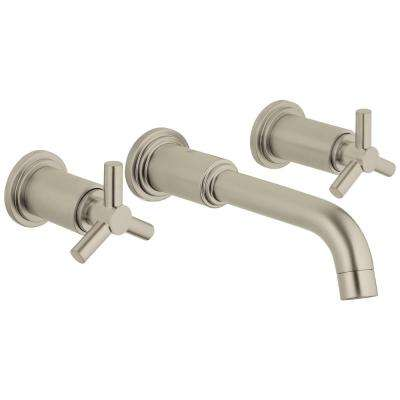 Atrio Double Hole 2-Handle Wall-Mount 1.2 GPM Vessel Bathroom Faucet in Nickel Brush InfinityFinish