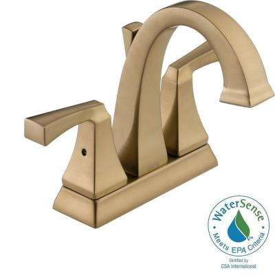 Dryden 4 in. Centerset 2-Handle High-Arc Bathroom Faucet in Champagne Bronze with Metal Pop-Up