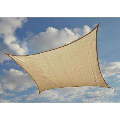 12 ft. W x 12 ft. L ShadeLogic Square, Heavy-Weight Sun Shade Sail in Sand (Poles Not Included) with Long-Life Fabric