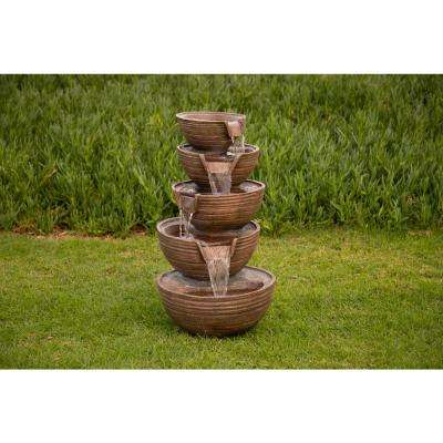 """Alpine Corporation 34"""" Tall Outdoor 5-Tier Modern Bowl Cascading Waterfall Fountain with LED Lights"""