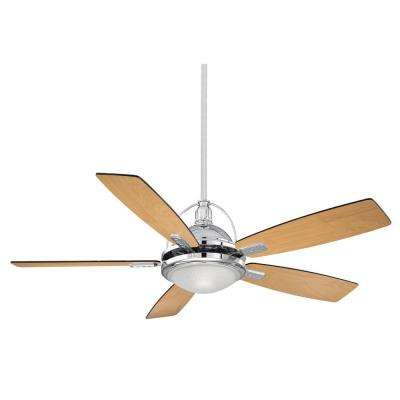 54 in. Chrome Ceiling Fan with White Frosted Halophane Glass