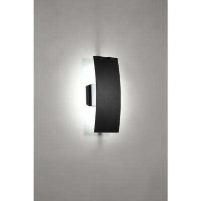 Gardi 1-Light Sand Black Outdoor Integrated LED Wall Lantern Sconce with Etched Glass