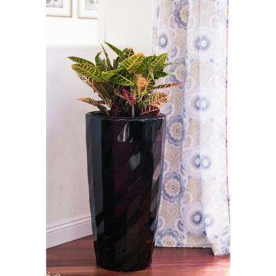 Xbrand 30 in. Tall Black Plastic Nested Self Watering Indoor/Outdoor Diamond Look Round Planter Pot (Set of 2)