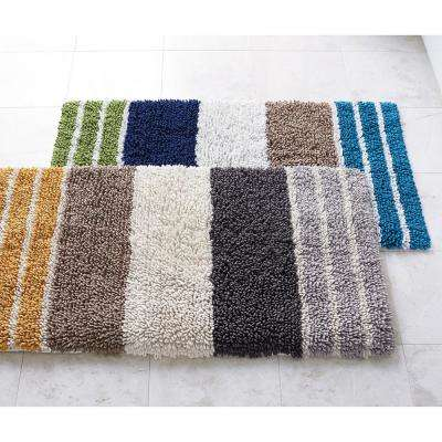Chunky Loop Stripe Cotton Bath Rug