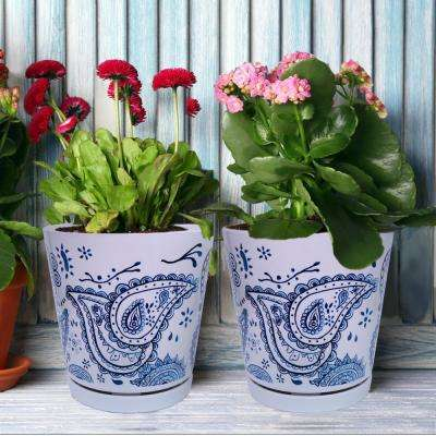 8.75 in dia Blue Paisley Pot with Self Watering Saucer (2-pack)