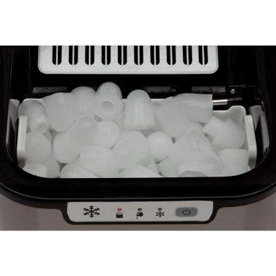 27 lb. Portable Ice Maker in Black with Stainless Steel