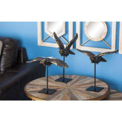 Large: 14 in; Medium: 11 in; Small: 9 in. Eagle Decorative Sculptures in Brown, Gold and Black (Set of 3)