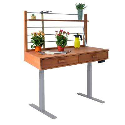 Sit to Stand 48 ft. x 26 ft. x 55 to 82 ft. Wood Potting Bench with Grey Frame