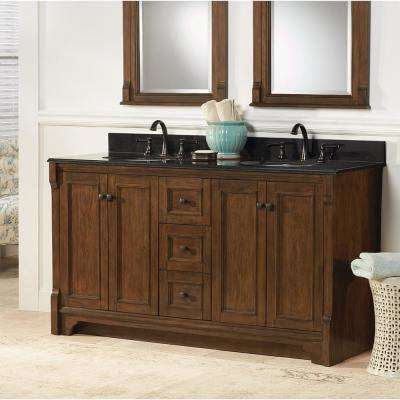 Creedmoor 61 in. W x 22 in. D Vanity in Walnut with Engineered Marble Vanity Top in Crema Limestone with White Sink
