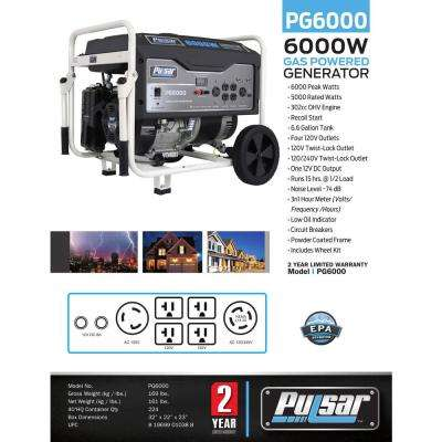 6,000/5,000-Watt Gasoline Powered Recoil Start Portable Generator with 302 cc Ducar Engine