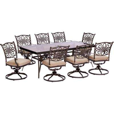 Traditions 9-Piece Aluminum Outdoor Dining Set with Rectangular Glass Table and Swivel Chairs with Natural Oat Cushions