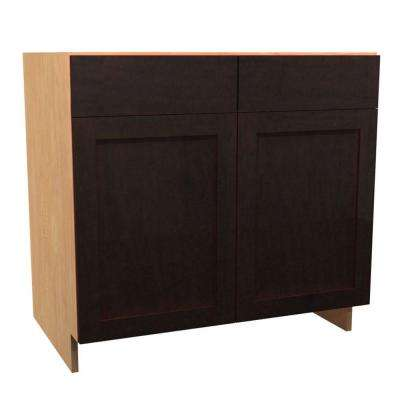 36x34.5x24 in. Elice Deluxe Sink Base Cabinet with U-Shape Pullout 2 Soft Close Doors and 2 False Drawer Fronts in Mocha