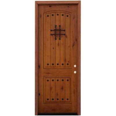 Rustic 2-Panel Stained Knotty Alder Wood Prehung Front Door with 6 in. Wall Series and 8 ft. Height Series