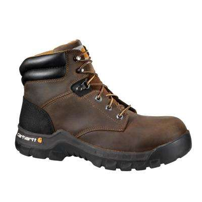 Rugged Flex Women's Brown Leather NWP Composite Safety Toe Lace-up Work Boot
