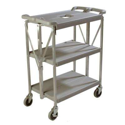 350 lb. Grey Small Fold 'N Go Heavy-Duty 3-Tier Collapsible Utility Cart and Portable Service Transport