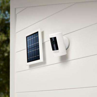 Stick Up Cam Wireless Indoor/Outdoor Standard Security Camera in White wtih Solar Panel