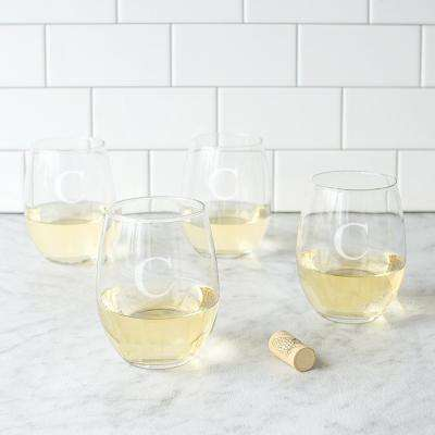 Personalized Stemless Wine Glasses - C